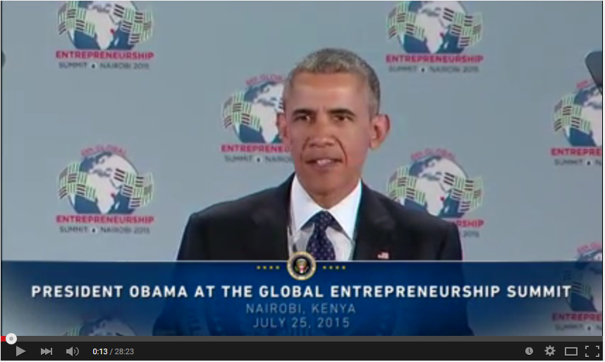 President Barack Obama delivers remarks at the Global Entrepreneurship Summit in Kenya